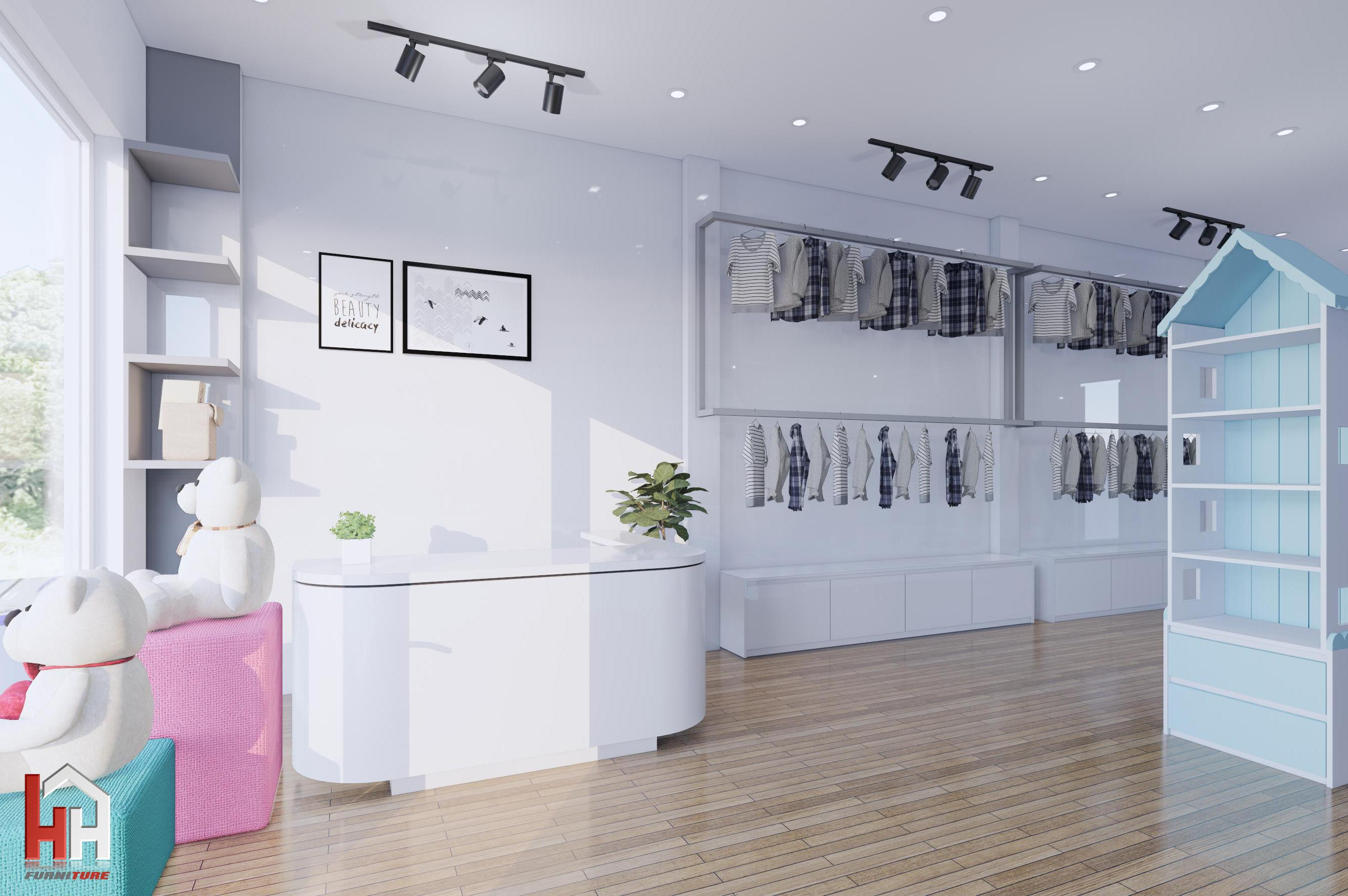 Thiết kế và thi công nội thất Shop áo quần trẻ em Hằng Baby Quảng Trị