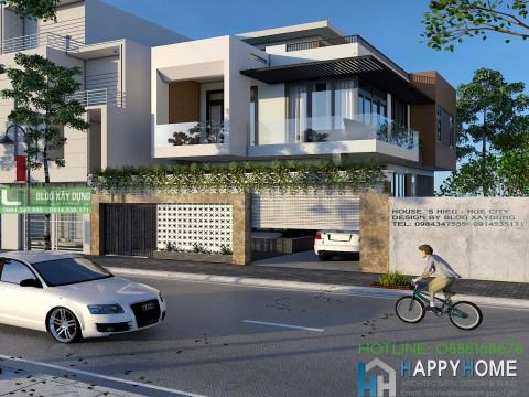 Thiết kế biệt thự hiện đại mái bằng Nhà anh Hiếu - TP Huế