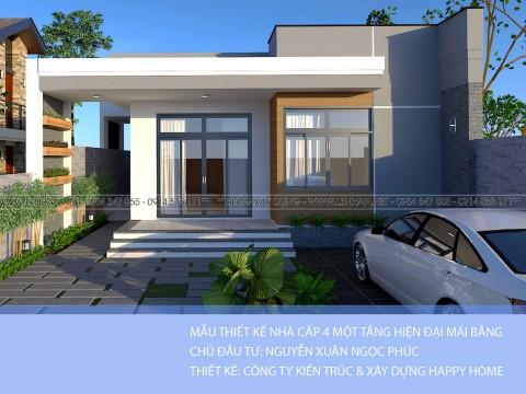 Thiết kế nhà cấp 4 mái bằng hiện đại 3 phòng ngủ - Anh Phúc Quảng Trị