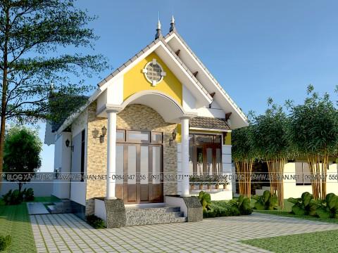 Thiết kế nhà cấp 4 mái thái với gam màu sáng 500 triệu tại Hải Lăng - Quảng Trị